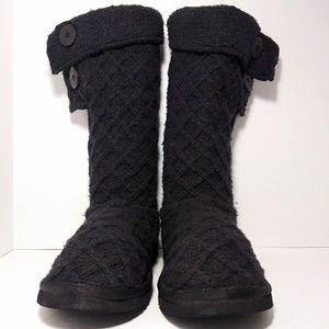 UGG  Lattice Cardy Black Knit Boots Sz 8
